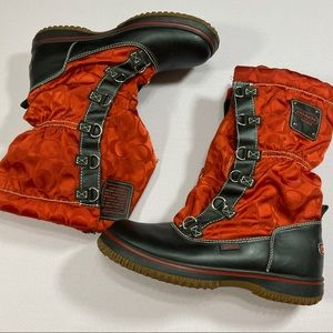 Coach Shaine Signature Red & Black Winter Boots
